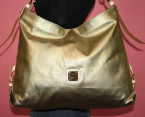 EUC DOONEY & BOURKE Large Champagne Leather Hobo Tote Shoulder Bag Purse