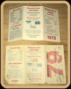 LOT OF 2 DIFFERENT MINNESOTA TWINS BASEBALL POCKET SCHEDULES 1978 & 1979