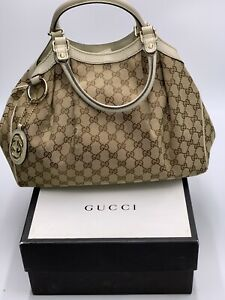 "GUCCI Brown Sukey Signature ""GG""s canvas & leather satchel handbag made in ITALY"