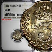 Great Britain George V Silver 1912 3 Pence NGC MS65 Light Toned BU GEM KM# 813