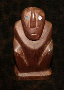 "An Attractive Palau Micronesia Squatting Figure with Mother-of-Pearl Eyes 5""h"