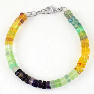 145.00 Cts Natural Round Shape Untreated Multicolor Fluorite Beads Bracelet (RS)