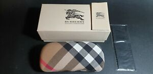 Authentic Burberry Plaid Chequered Large Size Eyeglass Clamshell Case + Box