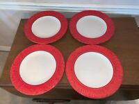 Fitz and Floyd Flower Market Sunset Red Dinner Plates Set of 4 New with Tags