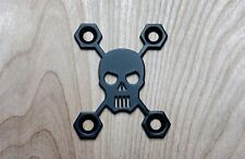 Skull Neck Plate for your Guitar or Bass - Industrial Black