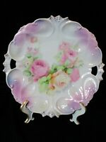 """ANTIQUE GERMANY CAKE PLATE PINK YELLOW ROSES 10 3/4"""" WIDE"""