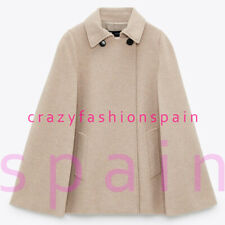 ZARA WOMAN NWT FW20/21 TAUPE BROWN COTTON BLEND CAPE COAT ALL SIZES 8491/333