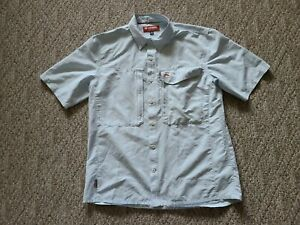 EUC Simms Men's Short Sleeve Fly Fishing Shirt Color Light Blue Size Large L
