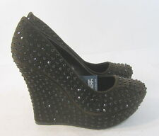 "new ladies Brown Stars 5.5""Wedge High Heel 1.5""Platform Sandals Shoes Size 10"