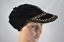 VINTAGE 1970s Indian ZARDOSI black velvet cap hat with metal embroidery