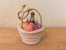 "Vintage Spun Cotton Wine & Fruit Filled Basket Christmas Ornament - 2.5"" Tall"