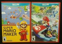 Mario Kart 8 + Super Mario Maker - Nintendo Wii U 2 Game Lot Tested Working