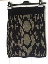 New Ladies Top Shop Mini Skirt. Black/Gold Geometric Pattern. Size 10. Acrylic