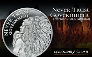 SILVER SHIELD 1 OZ PROOF | 2021 | NEVER TRUST GOVERNMENT V2