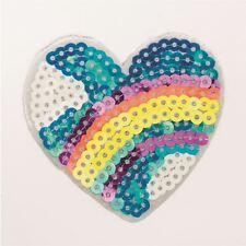 Sequin Rainbow Sky Heart (Iron on) Embroidery Applique Patch Sew Iron Badge