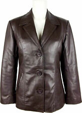 UNICORN LONDON Womens Classic Fitted Real Leather Blazer Brown / Black #H9 /#H8