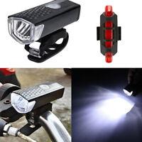 RECARGABLE USB LED Bicicleta Bici Ciclismo Faro Delantero Luz Trasera #