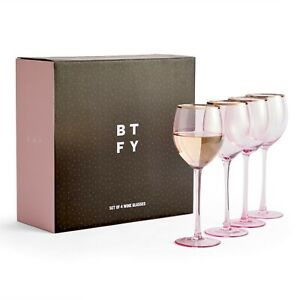 BTFY Pink Wine Glass Set - 380ml Tinted Drinking Glass with Rose Gold Rim 4Pcs