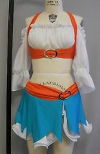SEXY 1-OF-KIND TURQ-ORG-WHT 'MAIDEN'-themed 3PC DANCE-CHEER-STAGE COSTUME-Size M