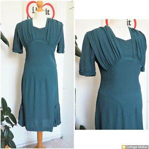 Original Vintage 1940s 40s Teal Drape Side Pleats Midi Tea Dress Size 10 - 12