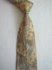 Altea Milano Silk Neck Tie Made in Italy Island Floral pattern Italian Tan Brown
