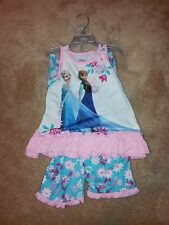 Disney Store Frozen Elsa/Anna Pajamas Sleep Set Sleepwear Size 5/6