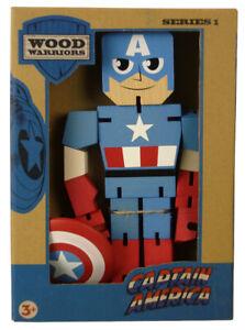 Captain America Wood Warriors 8 Inch Figure Series 1 Marvel Comics Avengers New