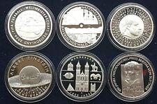 Conjunto completo 6 x 10 euro monedas conmemorativas de salida 2005 espejo brillo pp plata 925/-