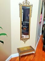 Mid-Century Wall Hanging Gold Mirror & Console Table By Turner Wall Accessory