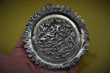 Antique 19 C Indian Lucknow silver hunting animals scene pin dish ring tray 9 cm