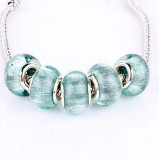 Bling Blue 5pcs MURANO bead LAMPWORK suit European Charm Bracelet