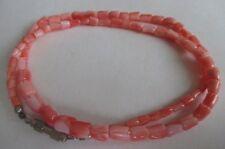 "Vintage Chinese Carved Angel Skin Coral Lotus Flower Necklace 17.25"""