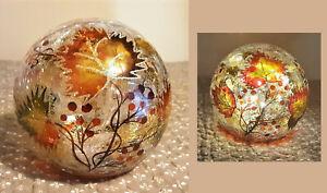 Autumn Leaves Lighted Crackled Glass Ball Fall Harvest Thanksgiving Decor