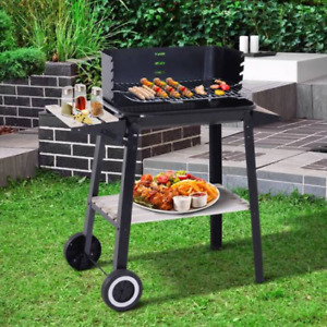 Charcoal BBQ Barbecue Portable BBQ Grill Outdoor Garden Steel and Shelfs