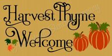 """Reusable Stencil 8489 N 12""""x24"""" Harvest Thyme Welcome - Mylar Sign Stencil"""