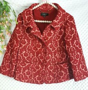 Talbots Jacket Size 10 Red Pink Brocade Cropped 3/4 Sleeve Blazer  Womens L