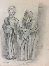 Dessin au crayon orientaliste recto verso Juifs de Jérusalem Israël février 1876
