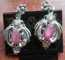 Modeschmuck Ohrringe lang, lila/rosa Stein,filigran romantischer Look verspielt
