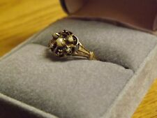 Lovely Vintage Art Deco Unmarked Rose Gold Cluster Seed Pearl Ring