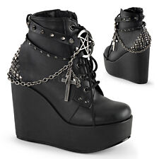 "POISON-101 5"" PUNK GOTH ROCK W/STUDDED STRAPS/CHAIN/SKULL HEAD ACCENT ANKLE BOOT"