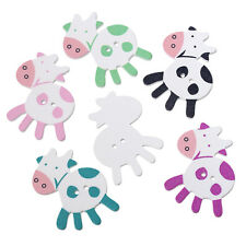 6 Wood Novelty Large Cow Sewing Buttons  39 x 35mm, crafts scrapbook