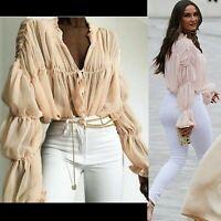 Women Bardot Frill Top Ruffle Bell Long Sleeve Gingham Shirt Ruched Sheer Blouse