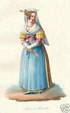 1840 Rome Lazio Frascati Italy costume watercolor HC engraving