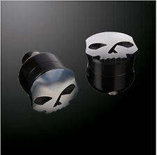 """Coppia Riser Risers Neri Black Skull 6"""" Universal Custom Bobber Harley Davidson"""