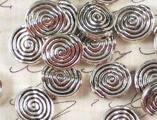 10 Spiral Beads 12mm Flat Round Antiqued Silver Tone Pewter metal #P303