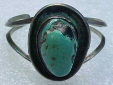 """Turquoise Cuff Bracelet 5.5"""" Vintage Navajo Pawn Sterling Silver"""