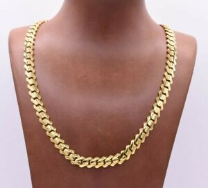 9mm Edge Miami Cuban Link Monaco Chain Necklace CZ Lock Real 10K Yellow Gold