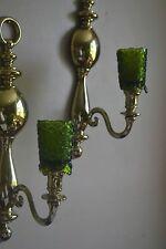 """Home Interior Dark Green """"Footed"""" Starburst Votive Pair"""