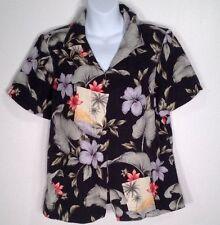 Tommy Bahama Womens Silk Shirt Aloha Camp Top Blouse Medium Island Flowers 8/10