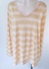 Lane Bryant Plus Size Long Sleeve T Shirt Top Pink Gold Striped Metallic 22 24
